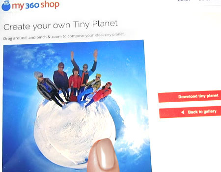 A customer making a tiny planet on our site
